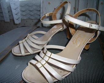 1960s Cream Summer Sandals