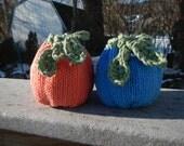 Hand-knit cotton fruit cozy - larger sized
