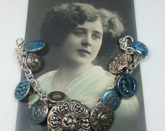 Vintage Beautiful Unique Hand Made Silver and Blue Vintage ButtonBracelet--One of a Kind