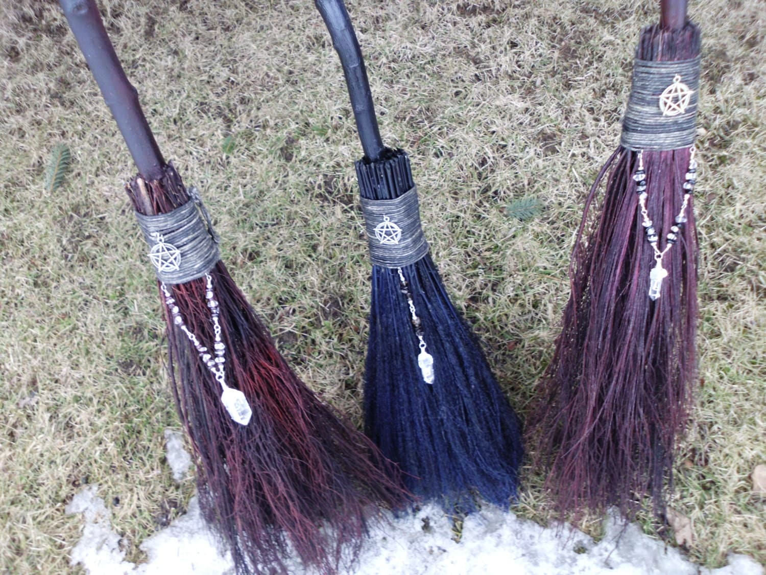 handfasting brooms in assorted colors and styles wiccan