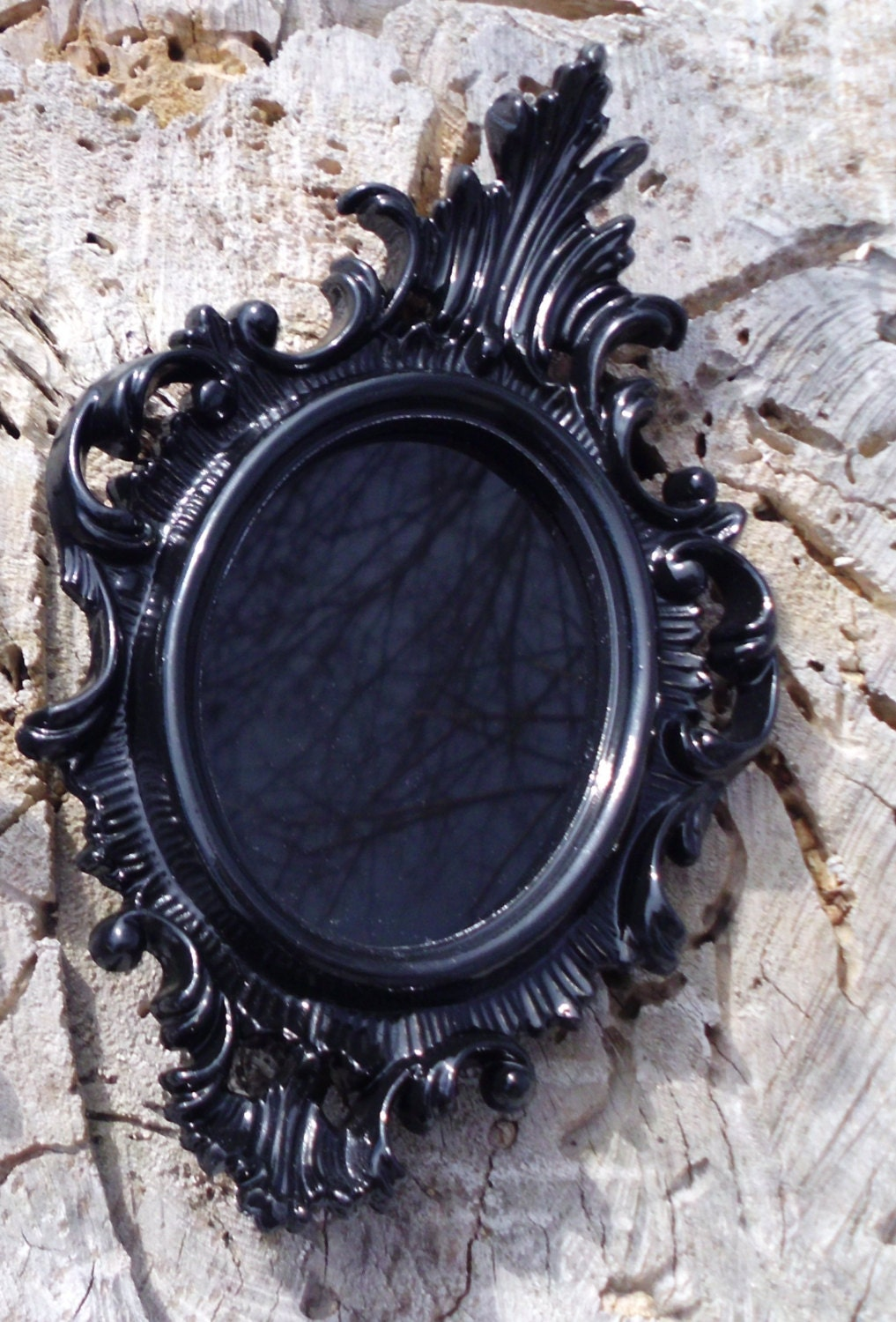 Small black scrying mirror black mirror ornate vintage for Black mirror