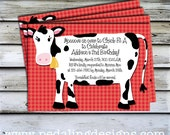Printable Invitations - Red Cow Birthday Invitation