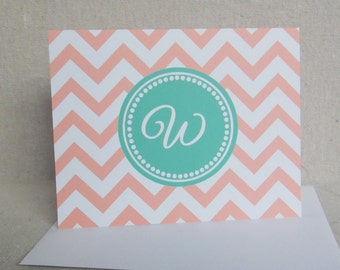 Personalized Notecards - Chevron Notecard Sherbet Orange and Mint