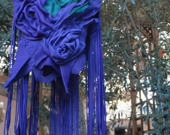 showdiva designs Vibrant Blue Purple Purse Bag Dripping with Fringe and Hand Sculpted Flowers