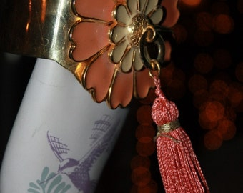Vintage 1970 YSL Cuff with LARGE Flower and Long Tassel from Flower Power Days INCREDIBLE
