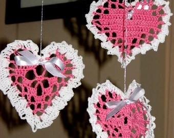 Set of 3 Lovely Hand Crochet Pink and White Lacy Hearts, Home Decor, Ornaments, Valentines Day