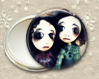 gothic doll pocket mirror,  original art  hand mirror, mirror for purse, gift for her,  bridesmaid gift, stocking stuffer MIR-AD33