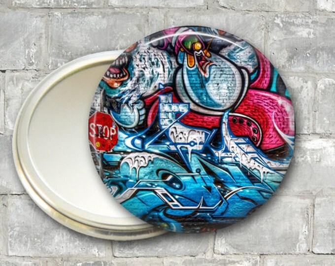 graffiti pocket mirror,  street art hand mirror, mirror for purse, bridesmaid gift, stocking stuffer  MIR-929