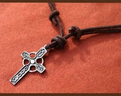 Leather Surfer Necklace Celtic Knot Cross Pendant