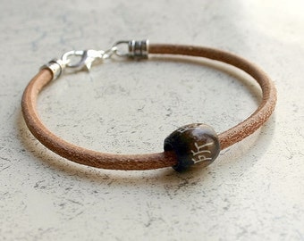 Men's Thick Bracelet 4mm Natural Leather Chinese Lucky Symbol Surfer Surf Wrap, Mens Bracelet, Mens Jewelry