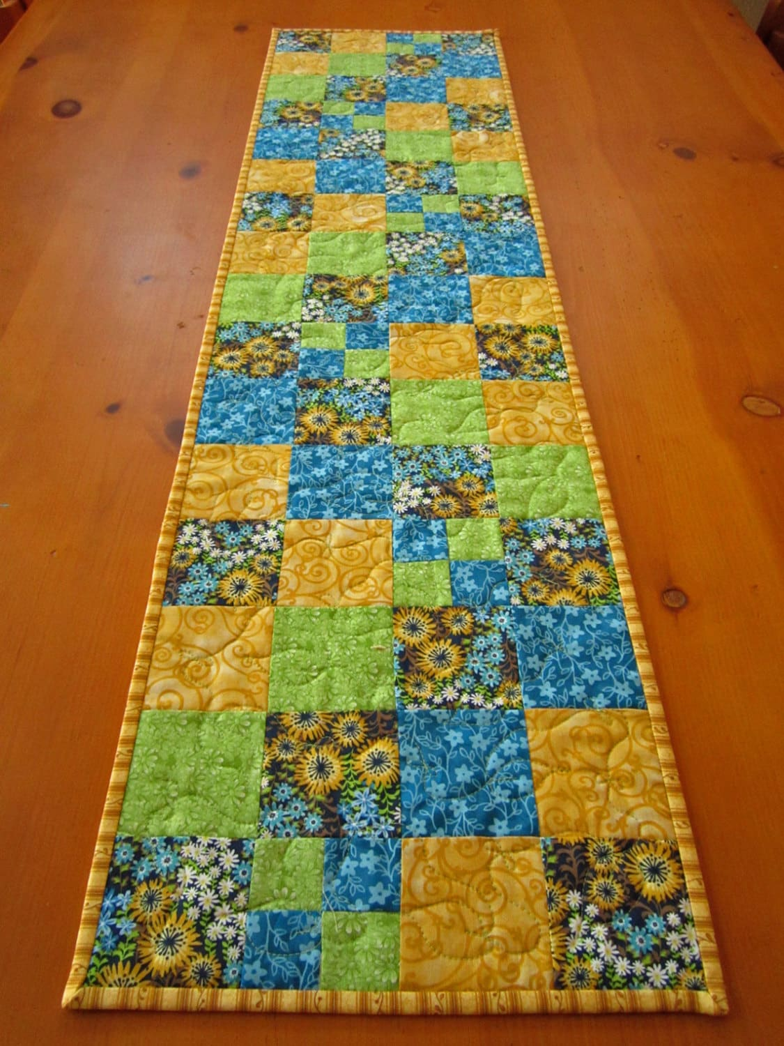 Quilted Table Runner Spring Color Patchwork By