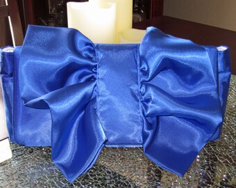 Clutch Purse in Blue & White Satin