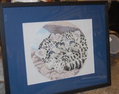 COMPLETED AND FRAMED - Snow Leopard  Circle of Cubs