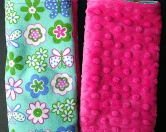 "Burp Towels - Colorful Butterflies and Flowers on Flannel and Hot Pink Dimple Minky 8"" X 18"" (set of 2)"