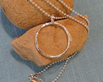 Charm Holder Necklace Silver Round Long Heavy Ball Chain 20 22 24 JJDLJewelryArt