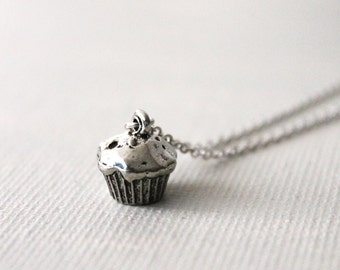Tiny Cupcake Necklace. personalized cupcake, initial jewelry, miniature, minimalist muffin