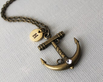 Anchor Necklace. initial personalized antique brass anchor charm