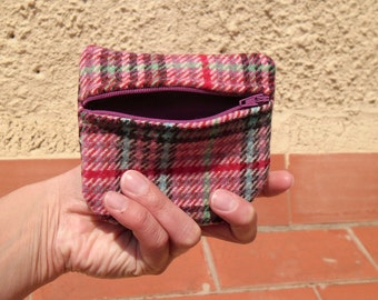 Pink  wool coin pouch