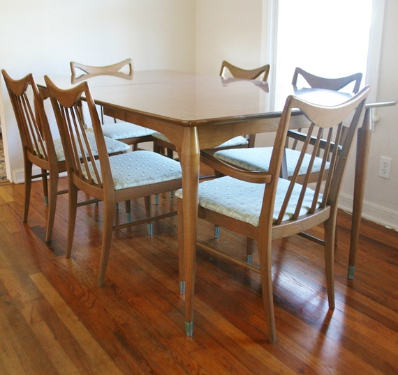 Mid Century Keller Dining Set Wood and Formica