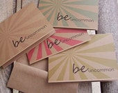 Be Uncommon - Inspirational Card, Motivational Greeting Card, Kraft Modern Rustic Love Thinking of You Graduation, Kraft Red Blue Olive Tan