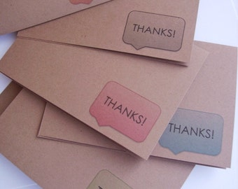 Thank You Cards - Speech Bubbles Card Set, Kraft Folded Thank You Notes, Ombre Speech Bubble Thank You Note Cards