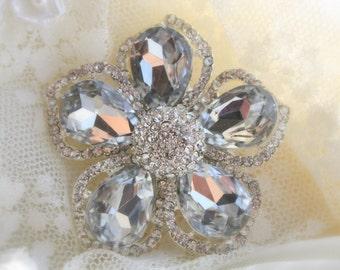 Rhinestone Brooch - Crystal Brooch - Vintage Style Brooch- Perfect For Bridal Wedding Bouquets - Rhinestone Flower Brooch- Bridal Sash