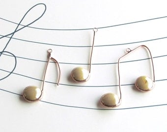 Three Glass Musical Notes Almond Beige Copper Suncatcher Ornaments
