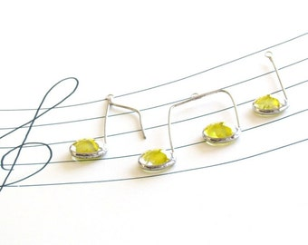 Glass Music Note Suncatcher Lemon Yellow Silver Ornament Set of Three (3) Gift Idea for Music Lover Handmade in Canada