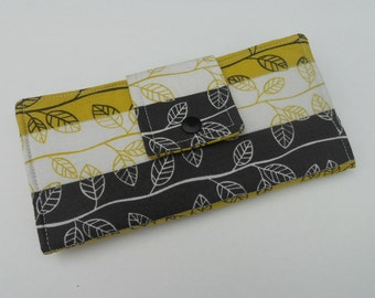 Zen Garden Wallet, Bifold Clutch Wallet, Quilted Bifold, Womens Fabric Wallet, Made in USA