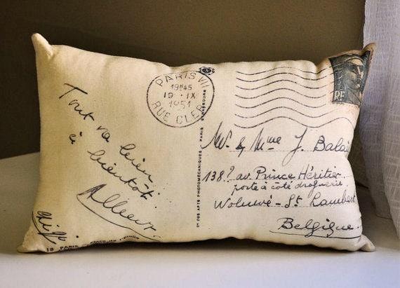 French postcard pillow