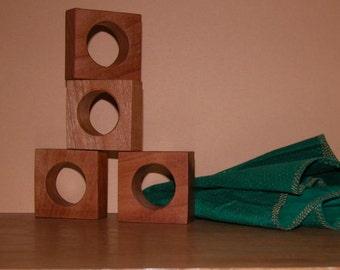 Napkin Rings - Set of 4 Cherry Wood Napkin Holders - Table Accessory - Home Decor