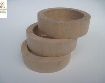 3 Dollar Bangle Sale; 3 Large Unfinished Wood Flat Exterior Bangles