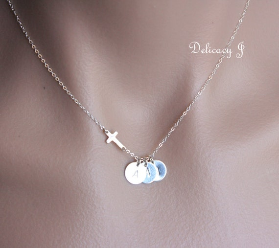 Personalized 18th Birthday Necklace Initial Custom: Personalized Cross Necklace With THREE Initial Discs By