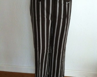 Ivory Stripe on Chocolate Brown Vintage Women's Pants S/M