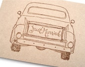 Old Pick Up Truck - Rustic Wedding Thank You Cards - Just Married Truck - Blank Brown Kraft Card Stock