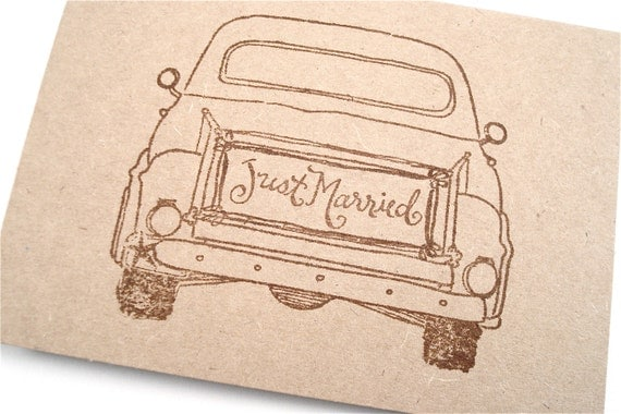 Old Truck Note Cards - Just Married - Rustic Farm Country Wedding - Thank You Cards - Announcement