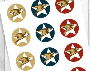 Eagle Scout Envelope Seals or cup cake toppers / American Theme. Download digital file.