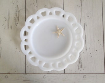 Vintage Milk Glass Lace Edged Plate Wedding Decor Milkglass