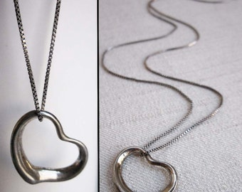Vintage Sterling Silver Abstract Heart Shaped Pendant Necklace With 18 Inch Sterling Silver Chain