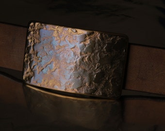 "Made in Canada Hand Forged Belt Buckle Copper Blue Stainless Steel Buckle Hypoallergenic One of a Kind Fits 1-1/2"" Belt For Jeans"