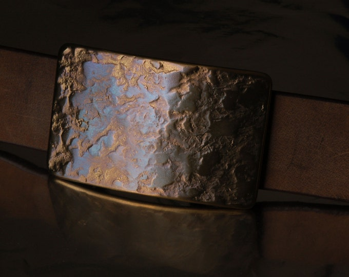 """Made in Canada Hand Forged Belt Buckle Copper Blue Stainless Steel Buckle Hypoallergenic One of a Kind Fits 1-1/2"""" Belt For Jeans"""