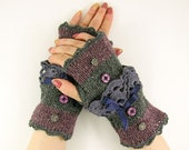 Knit fingerless gloves arm warmers fingerless mittens women grey purple fall autumn  tweed lace romantic victorian tagt team teamt