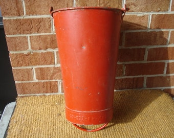 Vintage Industrial Galvanized Hanging Fire Pail Bucket