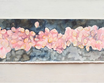 pink petals, gray home decor, pink and gray abstract watercolor painting, one painting, tall painting, spring, summer, flower petals