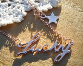 75% of this item, enter LOVE2016 at checkout.  Word Lucky Necklace 18K Gold Plated, Word, Word Necklace, Lucky, Christmas Gift
