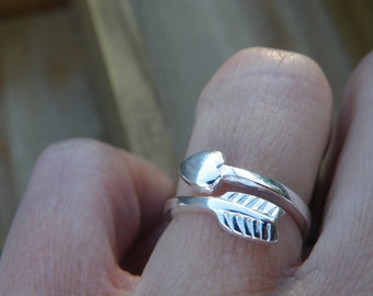 50% off this item, enter LOVE99 at checkout, Heart and Arrow Wrap Ring, Adjustable, Valentine's Day Gift, Gift, Heart Ring, Heart and Arrow