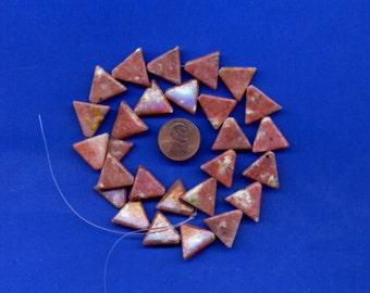 Strand of 16mm Triangle Beads: Pinky Jasper