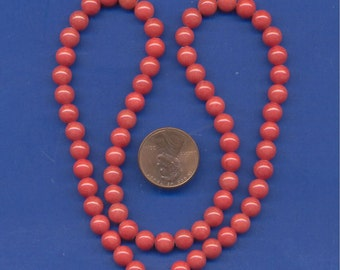 """16"""" Strand of 6mm Mt. Jade Beads: Coral"""