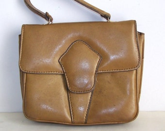 40s Genuine Leather Bag Handbag accordion Purse, leather inside and out, leather lined, roomy bag small