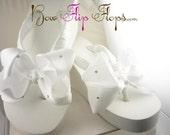 Swarovski crystal embellished Wedding Flip Flops- in white or choose colors & heel height- Rhinestone Bridal Wedge Bow Bride bridesmaids